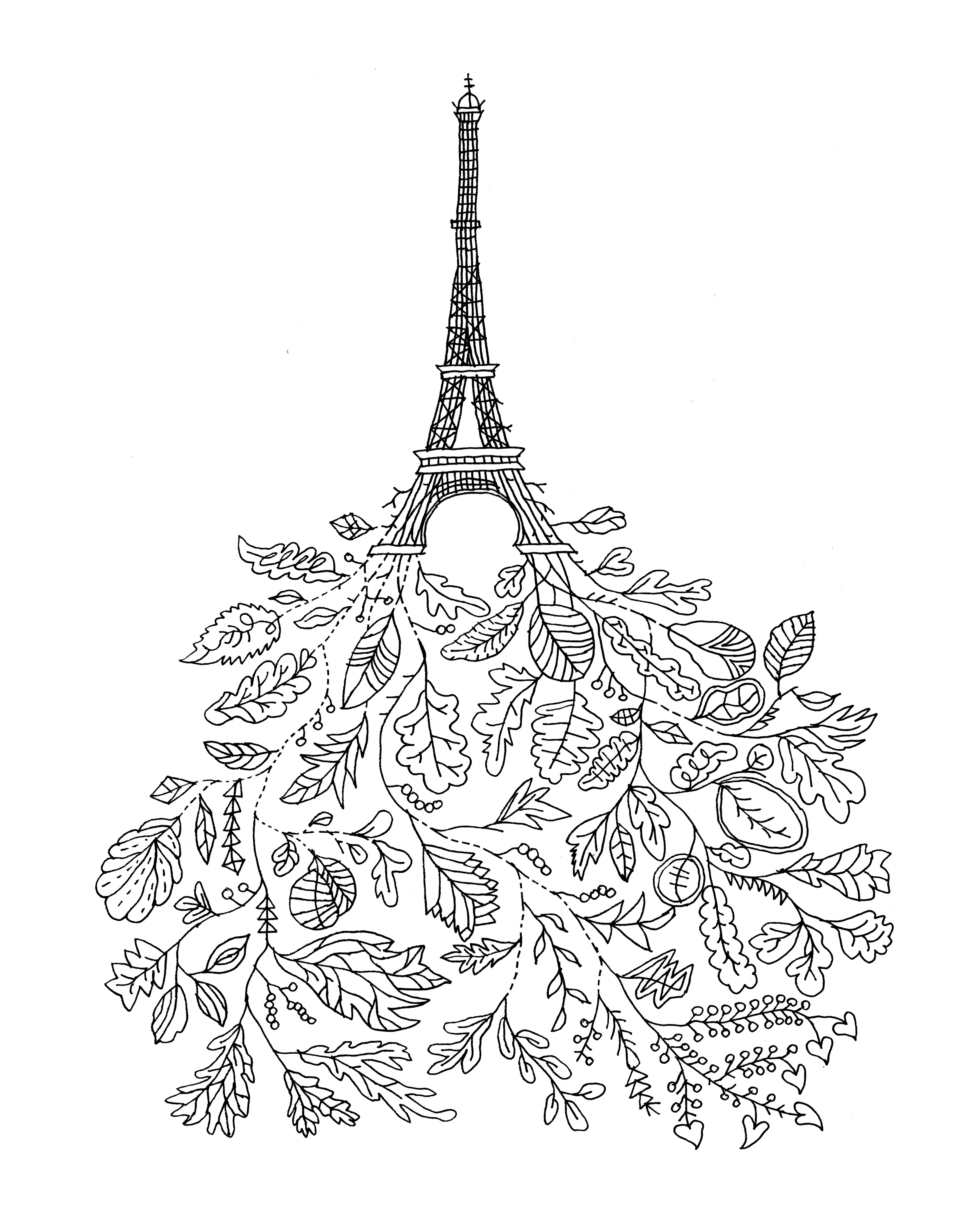 Abstract Line Drawing Page 5988 The 10000 Colouring Book Eiffel Tower Fallen Leaves Free For Adults And Children